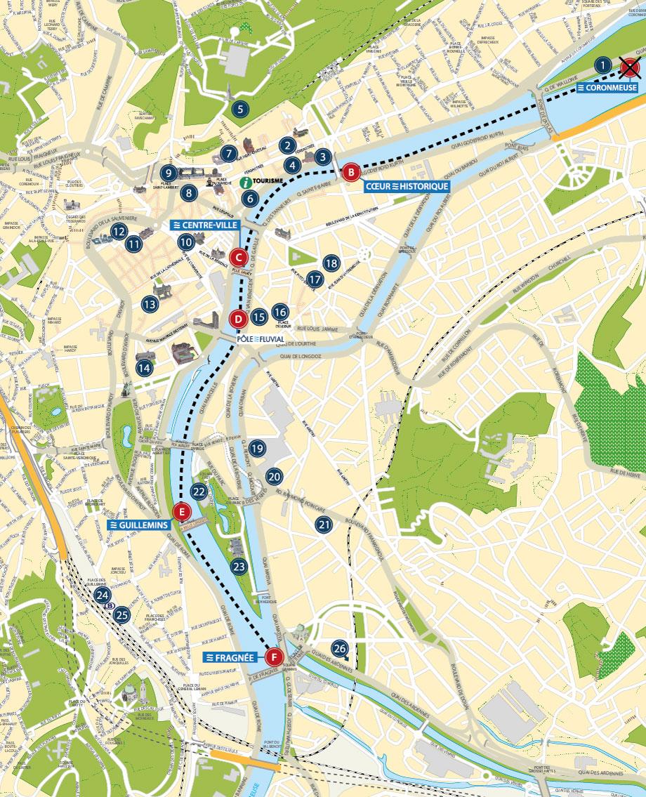 Carte touristique de Liège pour la Navette Fluviale